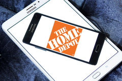 The home depot logo. Logo of the home depot on samsung mobile on samsung tablet. the home depot is an American home improvement supplies retailing company that stock photos