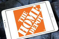 The home depot logo. Logo of the home depot on samsung tablet . the home depot is an American home improvement supplies retailing company that sells tools royalty free stock images