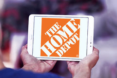 The home depot logo. Logo of the home depot on samsung tablet . the home depot is an American home improvement supplies retailing company that sells tools stock photos