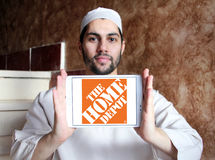 The home depot logo. Logo of the home depot on samsung tablet holded by arab muslim man. the home depot is an American home improvement supplies retailing royalty free stock photo