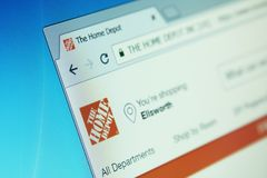The home depot website. Website of the home depot on computer screen. the home depot is an American home improvement supplies retailing company that sells tools stock image