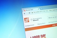 The home depot website. Website of the home depot on computer screen. the home depot is an American home improvement supplies retailing company that sells tools royalty free stock photography