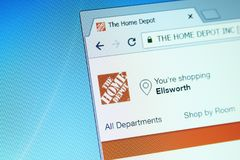 The home depot website. Website of the home depot on computer screen. the home depot is an American home improvement supplies retailing company that sells tools royalty free stock images