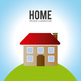 Home desgin over landscape background vector illustration Stock Photo