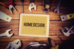 Home design against blueprint Royalty Free Stock Image