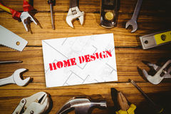 Home design against white card Stock Photos