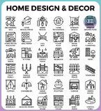 Home Design and Decor icons. Home Design and Decor concept detailed line icons set in modern line icon style concept for ui, ux, web, app design Royalty Free Stock Photos