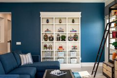 Free Home Design Remodel Play Room, Den With Built In Shelving Stock Photo - 141302870
