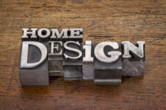 Home design  text in metal type Stock Photography