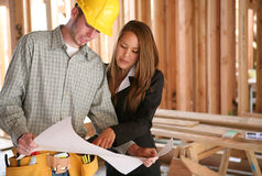 Home Designer with Home Builder Stock Photo