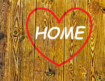 Home. Desire to return to the memory of love hearts background illustration travel land become a wood plank Royalty Free Stock Images