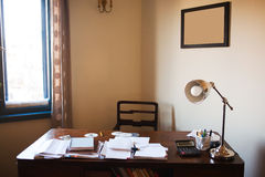 Home desk. Home working desk near window Stock Photo
