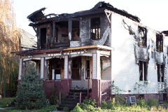 Home destroyed by fire Royalty Free Stock Photos