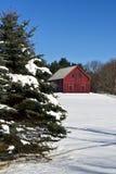 HOME do estilo do celeiro na neve imagens de stock