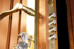HOME do fechamento de porta Fotografia de Stock Royalty Free
