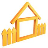 HOME do símbolo abstrato com cerca ilustração royalty free