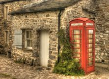 HOME do telefone, cabine de telefone em Arncliffe. (Painterly.) Fotos de Stock