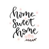 HOME doce Home Cartão de rotulação tirado mão do vetor Ícone do blogue do vetor Imagem de Stock Royalty Free