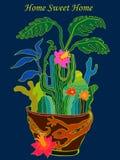 HOME doce Home Ilustração desenhada mão do vetor Fotos de Stock Royalty Free