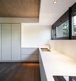 Home,  domestic kitchen. Architecture, modern apartment, white domestic kitchen Stock Image