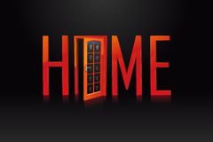 Home with Door. Illustration of home text with door on black background Stock Photos