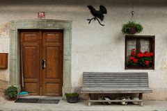 Home door entrance in Slovenian alpine village Royalty Free Stock Photography
