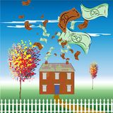 Money spent on the upkeep of a home. A home draining finances on the upkeep showing money just floating away Royalty Free Stock Photo