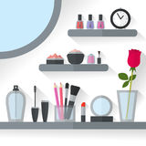 Home dressing table interior vector illustration. Make up flat concept with cosmetics, makeup table, mirror, flower, make-up tools, rose flower. Make-up artist vector illustration