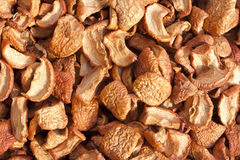 Home dried apple slices heap rural background Stock Photo