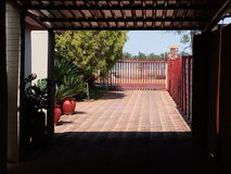 Home. Driveway gate exits Stock Photography