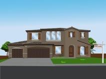 HOME e execução duma hipoteca ideais do vetor Fotos de Stock
