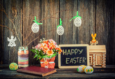 Home Easter decoration. With flowers Stock Photography