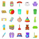 Home economics icons set, cartoon style. Home economics icons set. Cartoon set of 25 home economics vector icons for web isolated on white background Royalty Free Stock Image
