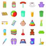 Home economics icons set, cartoon style Royalty Free Stock Image