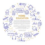 Home education concept in circle vector illustration