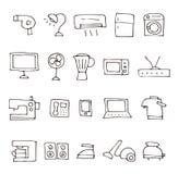 Home electric appliance illustration icon set. Hand drawn sketch home electric appliance illustration icon set Royalty Free Stock Photos
