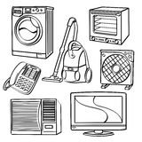Home Electric Appliances. A collection of different kinds of home electric appliances with sketch style. It contains hi-res JPG, PDF and Illustrator 9 files Royalty Free Stock Photos