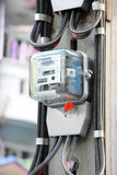 Home electric meter box on pole Stock Image