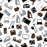 Home electrical appliances gray pattern  Royalty Free Stock Image