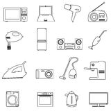 Home electrical appliances outline icons set Royalty Free Stock Images