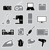 Home electrical appliances stickers set eps10 Royalty Free Stock Photo