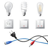 Home electricity. Highly detailed home electricity devices set Royalty Free Stock Photography