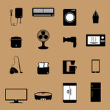 Home electronic appliance icons Stock Image