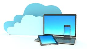 Home Electronic Devices connected to cloud server Royalty Free Stock Photos