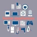Home electronics appliances circle. Royalty Free Stock Photos