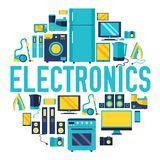 Home electronics appliances circle infographics template concept. Icons for your product or design, web and mobile. Applications. Vector flat with long shadow stock illustration