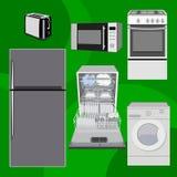 Home electronics appliances dishwasher, refrigerator, toaster, microwave, gas stove, washing machine. Vector illustration, flat. royalty free illustration