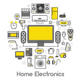 Home Electronics Appliances Thin Line Icons Set with TV set, Refrigerator and Coffee Maker Royalty Free Stock Images