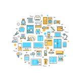 Home electronics appliances vector line concept Stock Photos