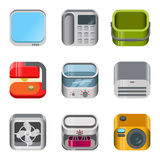 Home electronics glossy app icon vector set. Home table electronics glossy app dashboard icon vector set. Stylish modern mobile web application icons collection Stock Image